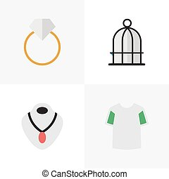 Vector Illustration Set Of Simple Accessories Icons....