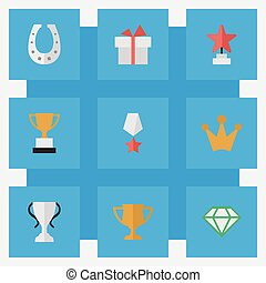 Vector Illustration Set Of Simple Trophy Icons. Elements...