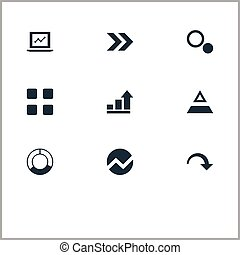 Vector Illustration Set Of Simple Diagram Icons. Elements Pie Bar, Ahead, Test And Other Synonyms Pie, Top And Triangle.