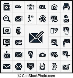 Vector Illustration Set Of Simple Message Icons. Elements Make Up, Seek, Push And Other Synonyms Envelop, Mouse And Parcel.