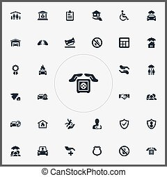 Vector Illustration Set Of Simple Warrant Icons. Elements...