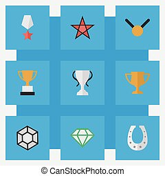 Vector Illustration Set Of Simple Prize Icons. Elements...