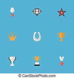 Vector Illustration Set Of Simple Awards Icons. Elements...