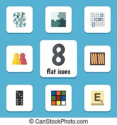 Flat Icon Games Set Of Mahjong, People, Jigsaw And Other...