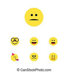 Flat Icon Face Set Of Party Time Emoticon, Displeased, Hush And Other Vector Objects. Also Includes Pleasant, Smile, Displeased Elements.