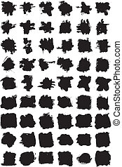 grungy vectorized ink strokes - Collection of grungy...