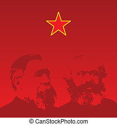 Marx and Engels portraits - vector