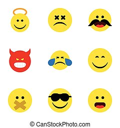 Flat Icon Emoji Set Of Smile, Hush, Angel And Other Vector Objects. Also Includes Face, Emoticon, Happy Elements.