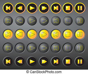 A set of round vector media buttons