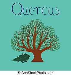 flat illustration stylish background plant Quercus - flat...