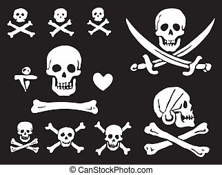 Pirate flags, skulls and bones - A set of pirate flags,...