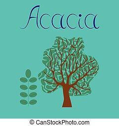 flat illustration stylish background plant Acacia - flat...