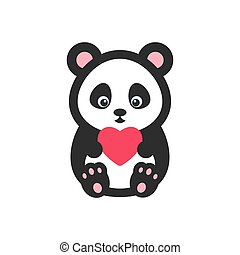 Panda bear with heart vector illustration