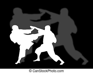 Karate sport - Two men playing karate with shadow on the...