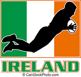 Irish rugby player Ireland flag - illustration of a...