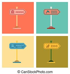 assembly flat icons sign aquatic Zoo dolphinarium park -...