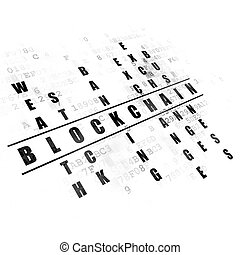 Money concept: Blockchain in Crossword Puzzle