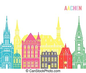Aachen skyline pop in editable vector file