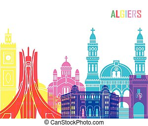 Algiers skyline pop in editable vector file