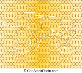 Background with honeycombs and bee.