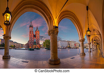 Krakow. - Image of Krakow Market square, Poland during...