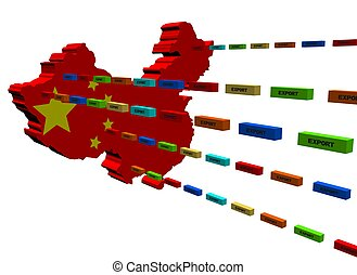 China map with lines of export containers illustration