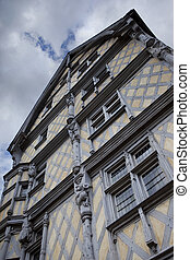 French timbered house - Facade of a timbered house in France