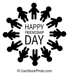 Happy Friendship Day. Man and woman pictogram icon sign....