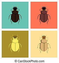 assembly flat Illustrations bug scarab - assembly of flat...
