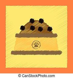 flat shading style icon dog food bowl
