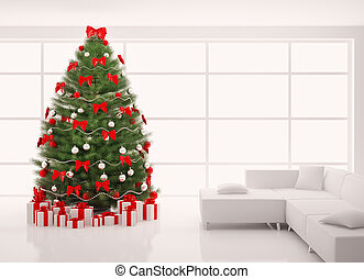 Christmas tree with red decorations in white interior 3d...