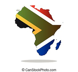 Africa map with flag