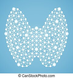 Human Thyroid Isolated On A Blue Background. Vector...