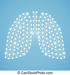 Human Lungs Isolated On A Blue Background. Vector Illustration.