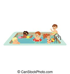Happy kids having fun in a swimming pool, colorful characters vector Illustration