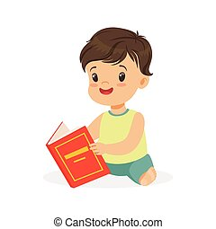 Little boy sitting on the floor and reading a book, kid enjoying reading, colorful character vector Illustration