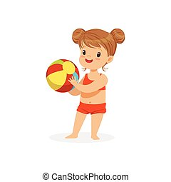 Little girl wearing red swimsuit playing with a ball, kids summer vacation colorful character vector Illustration