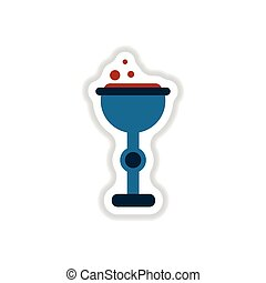 paper sticker on background of cup potion - paper sticker on...