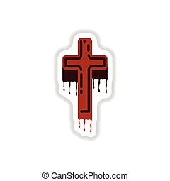 paper sticker on background of cross the blood