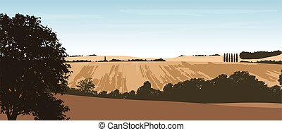 Realistic vector illustration of a hilly landscape with a...