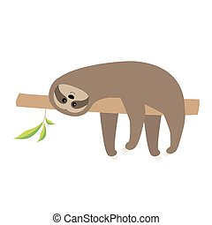 Sloth lying on tree branch. Cute cartoon character. Wild...