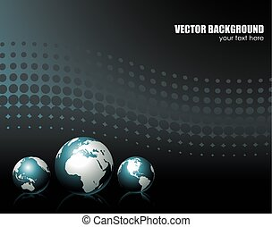 vector background with three globe
