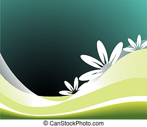 vector spring illustration with flower on blue background