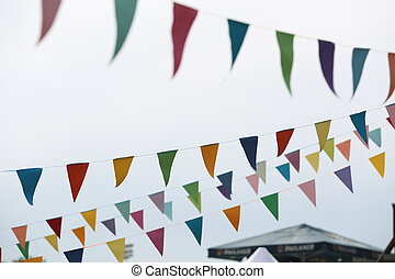 Party flags. Close up - Party flag, festive atmosphere,...