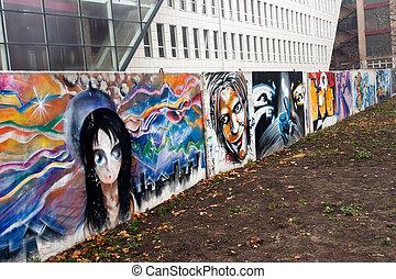 City graffiti - The wall with city graffiti