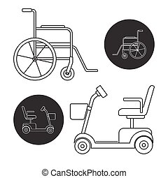 Set of mobility scooter and wheelchair icons - Line art...