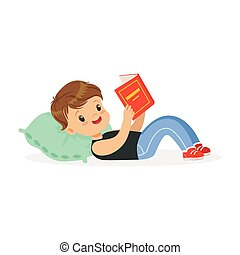 Cute little boy lying on a pillow and reading a book, kid enjoying reading, colorful character vector Illustration