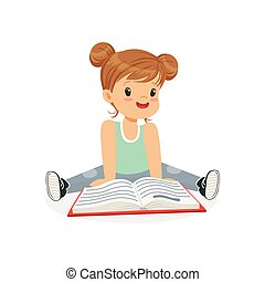 Adorable little girl sitting on the floor and reading a book, kid enjoying reading, colorful character vector Illustration