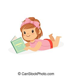 Sweet little girl lying on her stomach and reading a book, kid enjoying reading, colorful character vector Illustration