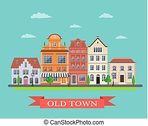 old town village main street. City landscape. Life style....